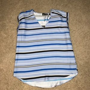 New York & Company Blue Stripe Blouse Size S